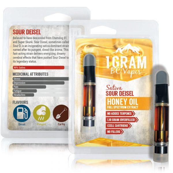BC Vapes Sour Diesel Honey Oil Vape Cartridge